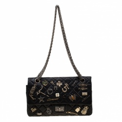 Chanel Black Quilted Leather Limited Edition Lucky Charm Reissue 2.55 Classic 225 Flap Bag