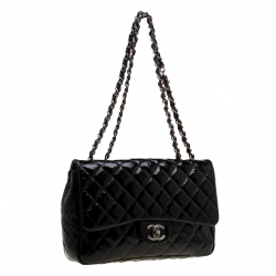 Chanel Black Quilted Patent Leather Jumbo Classic Single Flap Bag