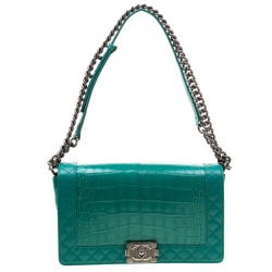 03329b0ef34 Chanel Green Alligator and Leather New Medium Reverso Boy Flap Bag
