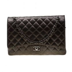 34170385c94cc2 Chanel Seaweed Green Quilted Leather Maxi Classic Double Flap Bag