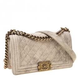 Chanel Beige Quilted Distressed Suede Medium Boy Flap Bag