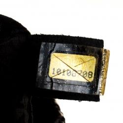Chanel Black Tweed/Lizard Skin with Fur Trim Flap Shoulder Bag