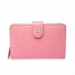 Chanel Pink Camellia Leather CC Wallet