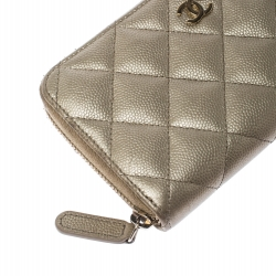 Chanel Gold Quilted Leather Zip Around Wallet
