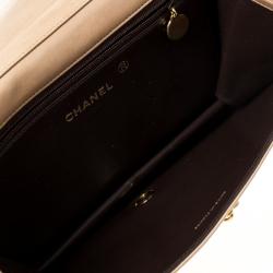 Chanel Beige Quilted Leather Vintage Flap Bag