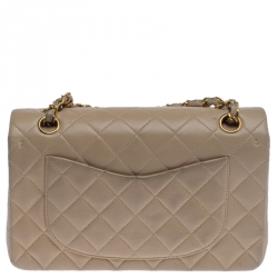 Chanel Beige Quilted Leather Small Classic Double Flap Bag
