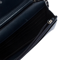 Chanel Navy Blue Caviar Leather Wallet On Chain