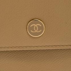 Chanel Beige Caviar Leather CC Logo Trifold Wallet
