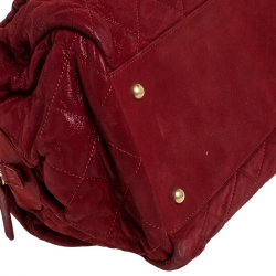 Chanel Red Quilted Iridescent Leather Chain Satchel