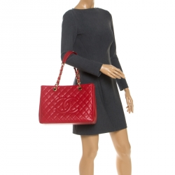 Chanel Red Quilted Caviar Leather Grand Shopping Tote