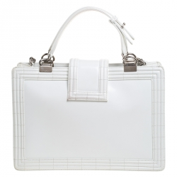 Chanel Off White Patent Leather Reverso Boy Tote