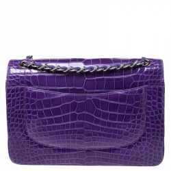 Chanel Purple Alligator Jumbo Classic Double Flap Bag