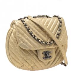 Chanel Metallic Gold Leather Chevron Coco Twin Bag