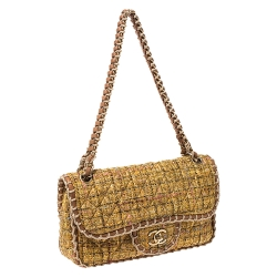 Chanel Yellow Leather and Tweed St. Tropez Shoulder Bag