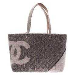 Chanel Grey Tweed Cambon Line Large Tote
