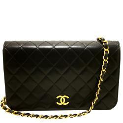 Chanel Black Quilted Leather Vintage Full Flap Bag