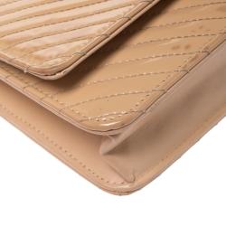 Chanel Beige Chevron Patent Leather Classic WOC Clutch Bag