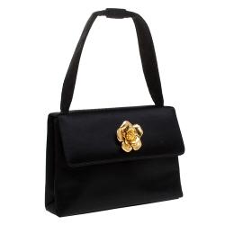 Chanel Black Satin Gold Camellia Vintage Small Bag