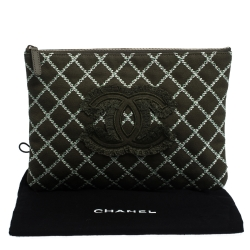 Chanel Green Canvas Ultra Stitch O-Case Zip Pouch