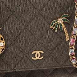 Chanel Military Green Canvas 2017 Paris-Cuba WOC Clutch Bag