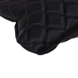 Chanel Black Quilted Satin CC Half Moon Clutch