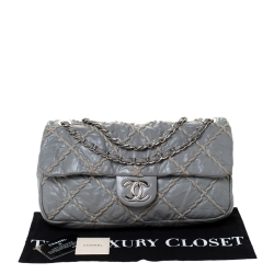 Chanel Grey Crinkled Leather Ultra Stitch Classic Flap Bag