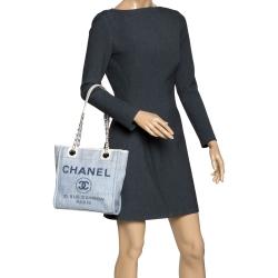 Chanel Light Blue/White Canvas Deauville Tote