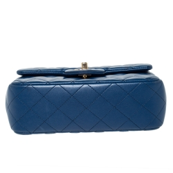 Chanel Blue Quilted Leather New Mini Classic Single Flap Bag