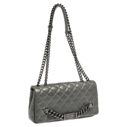 Chanel Pale Green Quilted Leather Logo Plaque Flap Chain Bag