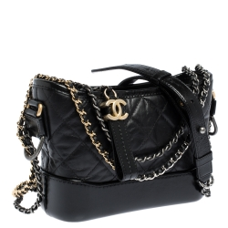 Chanel Black Quilted Leather Small Gabrielle Bag
