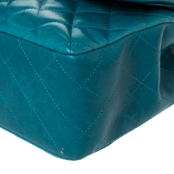 Chanel Green Quilted Leather Jumbo Classic Double Flap Bag