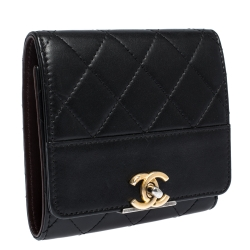 Chanel Black Quilted Leather CC Trifold Wallet