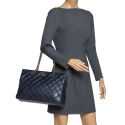 Chanel Navy Blue Quilted Leather Large Perfect Edge Tote