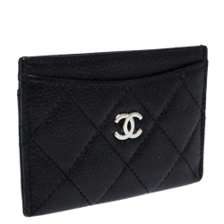 Chanel Black Quilted Caviar Leather CC Card Case