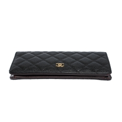 Chanel Black Quilted Caviar Leather L Yen Continental Wallet
