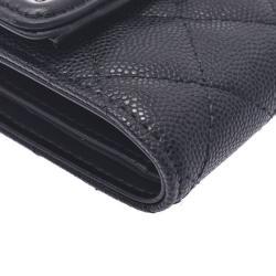 Chanel Black Leather CC Filigree Wallet