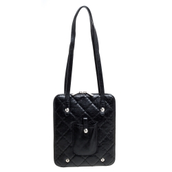 Chanel Black Quilted Leather Zip Around Bag