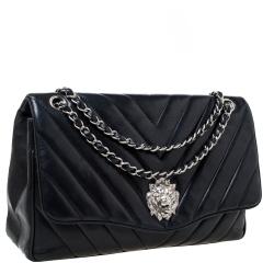 Chanel Black Chevron Leather Leo Lion Single Flap Bag
