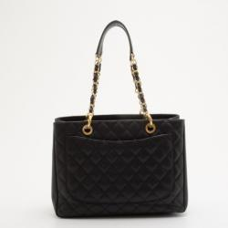 Chanel Black Quilted Caviar Leather Grand XL Shopping Tote