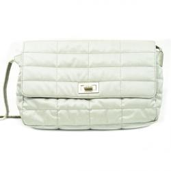 Chanel White Fabric Flap Bag