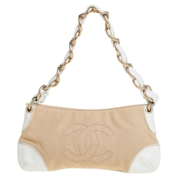 Chanel Beige/White Canvas and Leather CC Olsen Bag