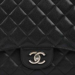 Chanel Black Quilted Caviar Leather Maxi Classic Flap Bag