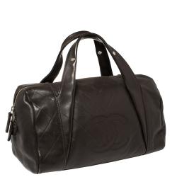 Chanel Dark Brown Chevron Leather Medium All Day Long Bowler Bag
