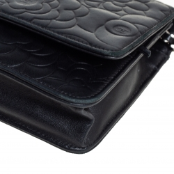 Chanel Black Camellia Leather Wallet On Chain