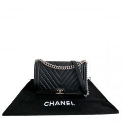 Chanel Black Chevron Lambskin Leather New Medium Boy Bag