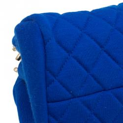 Chanel Blue Quilted Jersey Small Just Mademoiselle Bowler Bag