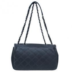 Chanel Black CC Lambskin Quilted Flap Shoulder Bag
