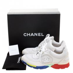 Chanel White Mesh And Leather CC Multicolor Sole Lace Up Sneakers Size 39