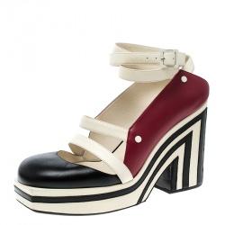 0c121a1c740e Chanel Tricolor Leather Open Toe Ankle Wrap Platform Sandals Size 39.5
