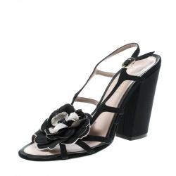 Chanel Black Satin Flower Embellished Peep Toe Block Heel Slingback Sandals Size 39.5